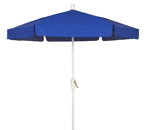 FiberBuilt Umbrellas Garden Umbrella, 7.5 Foot Pacific Blue Canopy and White Pole