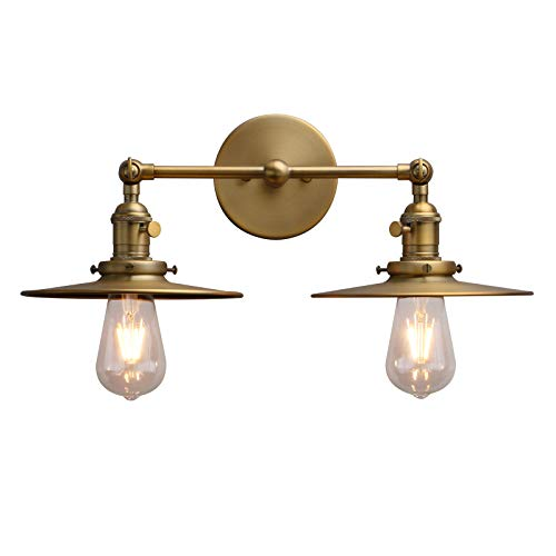Phansthy 2 Lights Wall Sconce Antique Finished Bathroom Vanity Light with Switch and Dual 7.87 Inches Flat Metal Lampshade (Antique)