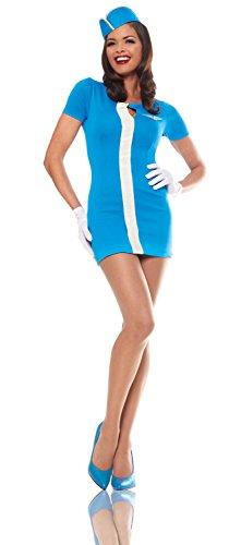 Costume Culture Women's Mod Flight Attendant Costume, Blue, Small
