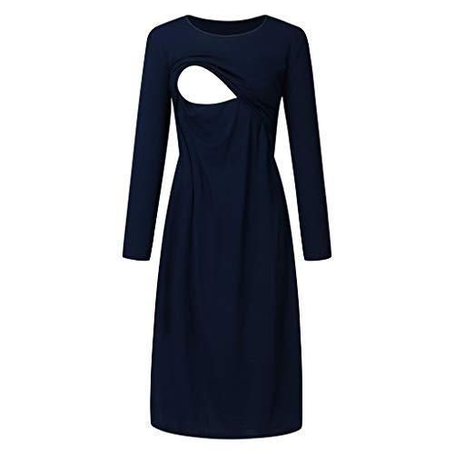 Maternity Nursing Dress,Crytech Solid Color Long Sleeve Double Layer Knee Length Midi Dress for Breastfeeding Pregnancy Loose Casual Sleepwear Nightgown Casual Clothes (Medium, Navy)