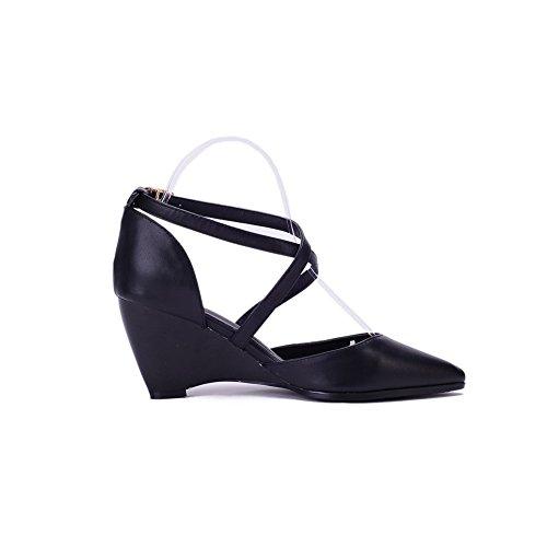 Amoonyfashion Mujeres High-heels Soft Material Hebilla Sólida Sandalias De Punta Cerrada Black