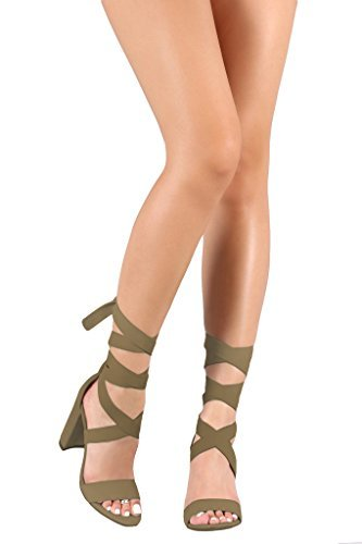 [Nude] Suede Ankle Leg Strappy Wrap Chunky Women's Classic Comfortable Design High Heel Sandals Shoes Size 8