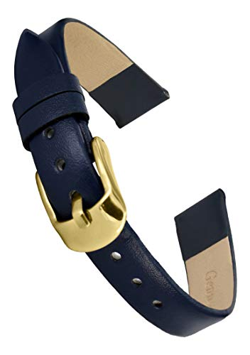 Doon Blue Leather Watch Band, Pin Clasp, 14mm Strap ()