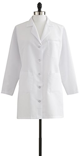 - Medline Healthcare MDT11WHT10E Ladies Staff Length Lab Coat, Size 10, White