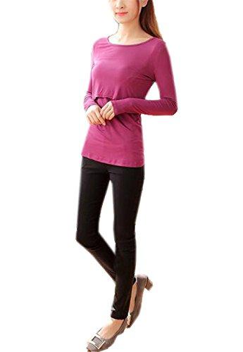 Manica Donna Maglietta Allattamento Strati Classico T Top Top Girocollo Tinta Unita Lunga Doppi Elegante Bluse BESTHOO Red Shirt Bluse Rose wx0qStt