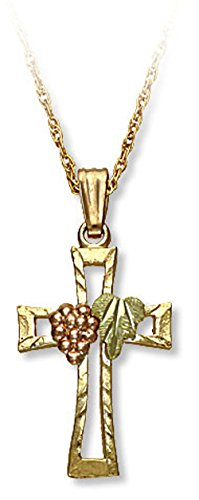 Landstroms 10k Black Hills Gold Cross Pendant Necklace with Grape Cluster and Leaves, 18