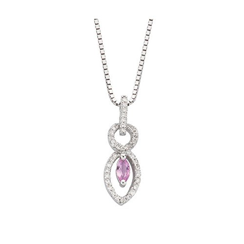 9ct or blanc diamant et saphir Rose goutte Pendentif avec chaîne 45,7cm/45cm Collier