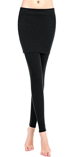ZUUC Cotton Womens Skirt with Elasticated Waist Full Length Thick Leggings Stretch Skinny Pants (Large, BLACK-PACKAGE HIP SKIRT)