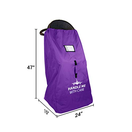 Stroller Travel Bag for Airplane Gate Check in - Large Standard or Double Stroller Purple by Reperkid (Image #4)