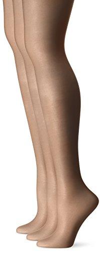 (L'eggs Women's Silken 3 Pack Ultra Sheer Run Resist Panty Hose, Jet Black, Q)