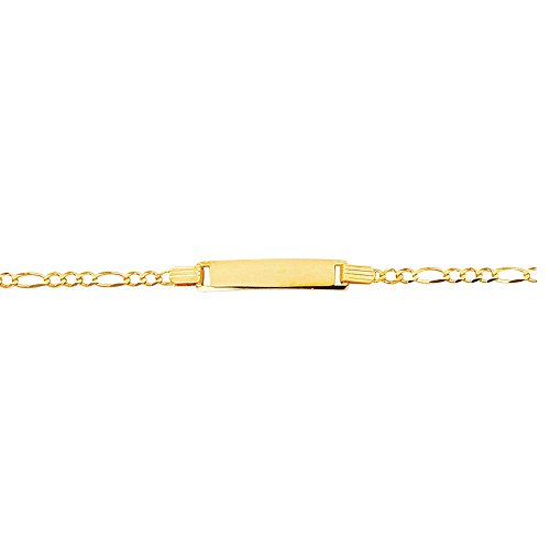 14k Yellow Gold 6 Inch Polish Finish Engravable Id Figaro Girls Bracelet by Diamond Sphere