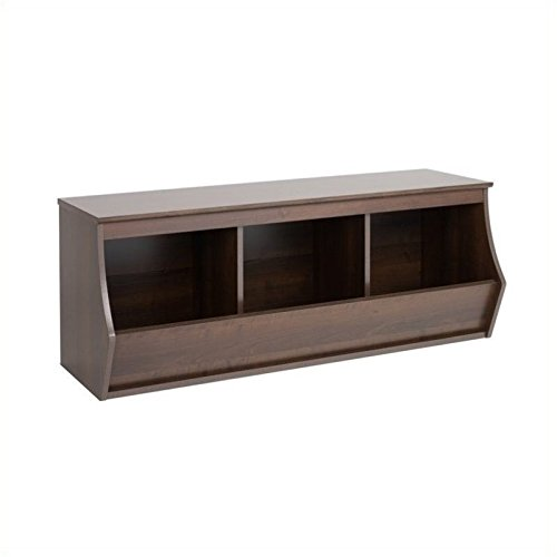 Hawthorne Collections Stackable 3-Bin Storage Cubby in Rich Espresso by Hawthorne Collections