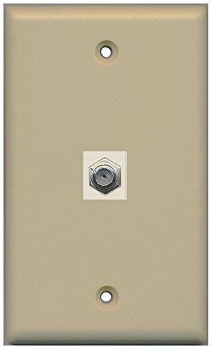 (RiteAV Coax Cable TV Wall Plate 1 Gang Flat - Ivory)