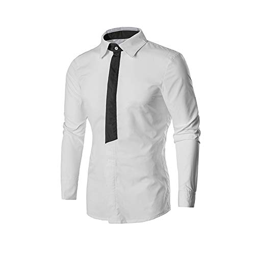 Mens Shirts clearance,NRUTUP Mens Shirts long Sleeve Casual Button Turn-down Collar Shirt Top Uniforms, Work & Safety(White,M) from NRUTUP