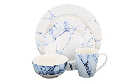 Bone China Dinnerware Set 16-Piece Marble Texture, Service for 4 (Marble Set Dinner)