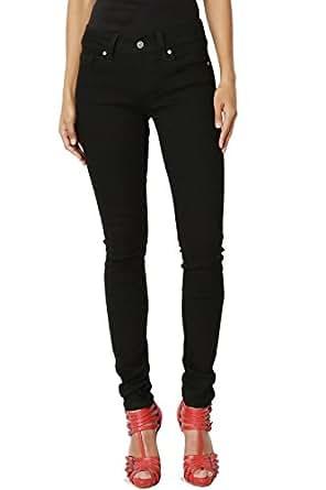 TheMogan Women's Basic Black Dye 5 Pocket Low Rise Stretch Skinny Jeans Black 0