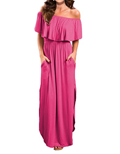 VERABENDI Women's Off Shoulder Summer Casual Long Ruffle Beach Maxi Dress with Pockets Large -