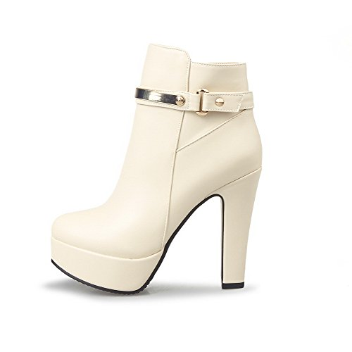 VogueZone009 Damen Reißverschluss PU Leder Hoher Absatz Rund Zehe Stiefel, Cremefarben, 35