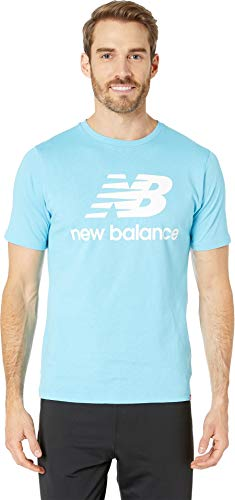 New Balance Men's Essentials Stacked Logo Tee Enamel Blue XX-Large