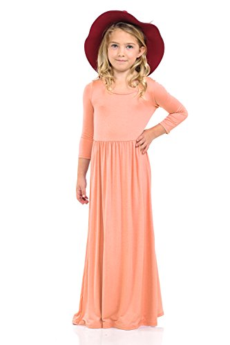 Pastel by Vivienne Honey Vanilla Girls' Fit and Flare Maxi Dress Medium 7-8 Years Peach -