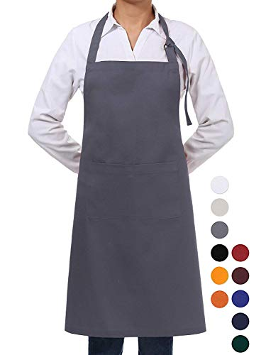VEEYOO Adjustable Chef Bib Apron with 2 Pockets, Durable Spun Poly Cotton, Cooking Kitchen Restaurant Uniform Aprons for Men Women, 32x28 inches, Slate