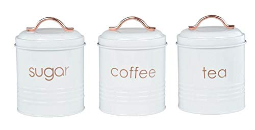 - Clever Home White and Rose Gold Metal Kitchen Accessories (Canister Set 3 Piece)