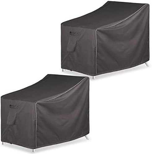 Leader Accessories Patio Chair Covers, Lounge Deep Seat Cover, Heavy Duty and Waterproof Outdoor Lawn Patio Furniture Covers-Dark Grey 2 Pack – Medium, Grey