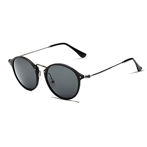 Brand Fashion Unisex Sun Glasses Polarized Coating Mirror Driving Sunglasses Round Male Eyewear For Men/Women 6358,Black with box1 ()