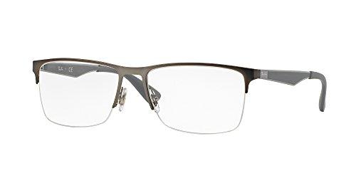 2015 Eyeglasses - Ray-Ban RX6335 Rectangular Metal Eyeglass Frames, Matte Gunmetal/Demo Lens, 56 mm