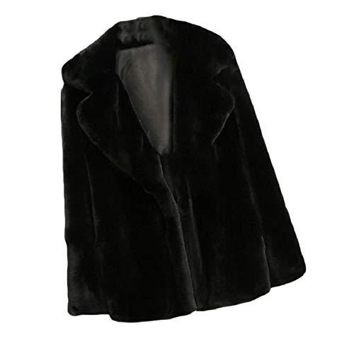 La Coat Howme giù Top Colore Nero Soffice Caduta donne Solido Più Gira xgAqZ