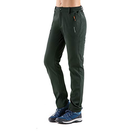 - Tofern Womens Winter Warm Breathable Waterproof Windproof Softshell Pants Outdoor Hiking Climbing Camping Cycling Trousers, New-Green US Size S (Lable L)