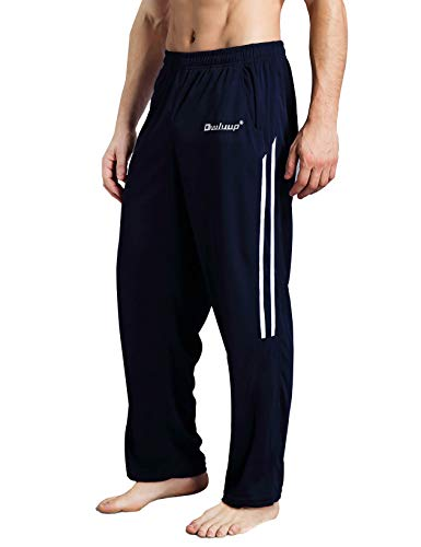 Duuluup Workout Pants Men - Quick Dry Active Sports Sweatpants Open-Hem with Pockets (Navy with Pocket&Stripe, M) ()