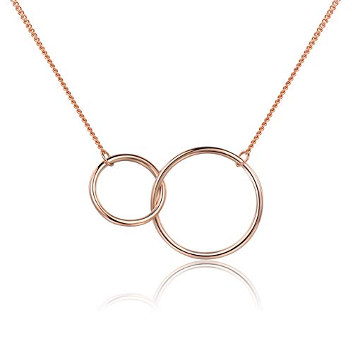 Rose Gold Plated Mother Daughter Necklace 2 Interlocking Infinity Circles Link Necklace 925 Sterling Silver for Women Girls