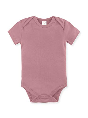 Colored Organics Unisex Baby Organic Cotton Bodysuit - Short Sleeve Infant Onesie - Dusty Rose - Newborn 0-3M