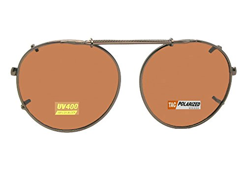 Semi Round Polarized Clip On Sunglasses (Dark Bronze-Polarized Amber Lens, 44mm Wide x 43mm Height)