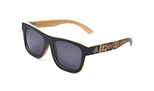 WOODWORD Polarized Handmade Bamboo Wood Sunglasses in Wayfarer that Floats with Case (bamboo wood, black)