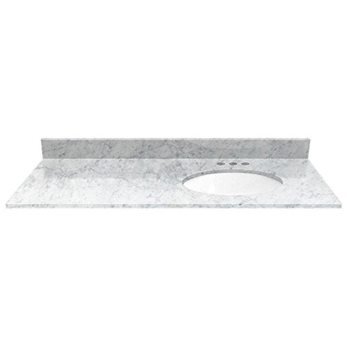 White Carrara Marble 49 in. Vanity Top with Off Set Right White Basin