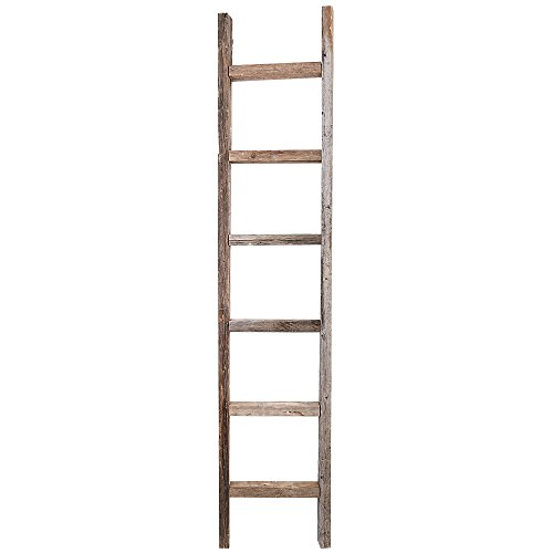 Decorative Ladder - Reclaimed Old Wooden Ladder 6 Foot Rustic Barn Wood (Antique Wood Ladder)