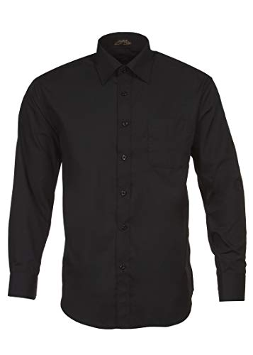 Alberto Danelli Men's Solid Long Sleeve Dress Shirt, Black, XXLarge / 18-18.5