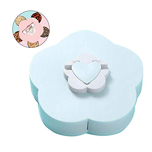 Snack Tray Dispenser with Phone Holder, Petal Shape Rotating Candy Dried Fruit Nuts Plate Box for Party, Serving Dish Bowl for Sweet Biscuits