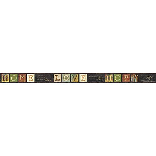 Ecru Letter - York Wallcoverings AC4366BD Keepsakes Country Quotes Border Wallpaper, Black, Green, Beige, Gold, Red, Ecru, Purple, Blue