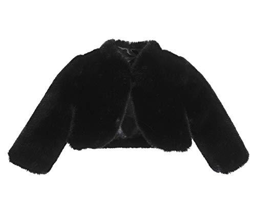 (ekidsbridal Black Faux Fur Capes Flower Girl Bolero Cozy Fur Jacket Princess Cape Dress Cover Up Flower Girl Shrug Dress Coat)
