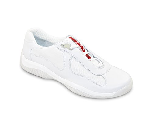 Prada Men's 'America's Cup' Leather With Mesh Sneaker, White (10.5 US UK - Prada America Cup