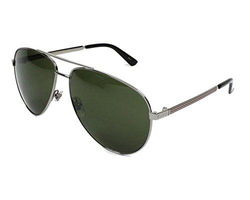 Gucci Men,Women GG0137S 61 Gunmetal/Green Sunglasses 61mm