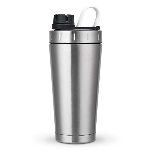 fe Protein Shaker Bottle, Double Walled Vacuum Insulated Water Bottle, Stainless Steel Water Cup, Leak Proof, Wide Mouth, Dishwasher Safe with BPA Free (Silver), 20oz