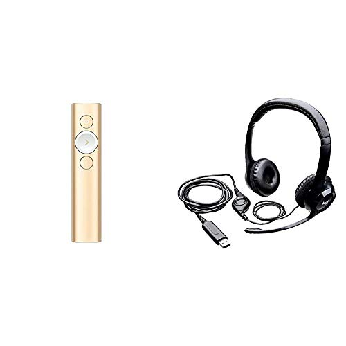 Logitech Spotlight Wireless Presentation Remote – Gold/White & H390 Wired Headset, Stereo Headphones with Noise…