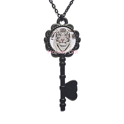 - Tiger Key Necklace Tiger Jewelry Key Necklace Wearable Art Key Pendant Charm Tiger Key Pendant Cat Charm Pink,H129 (S3)