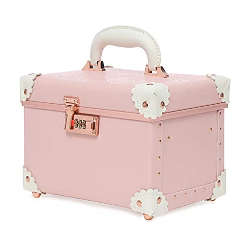 GWXJZ CD DVD Racks Password Box Portable Retro Password Cosmetic case, Storage High Capacity 2 Layer Luggage Cosmetic Bag (Color : Pink, Size : 271919cm) ()