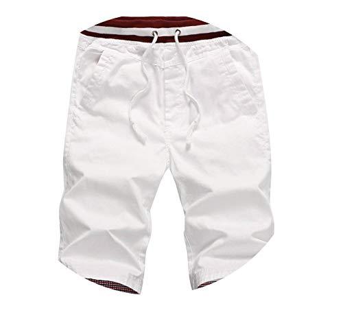 (Sunny Super Men Cotton Straight Mens Shorts Solid Slim Cool Beach Shorts,White,S)