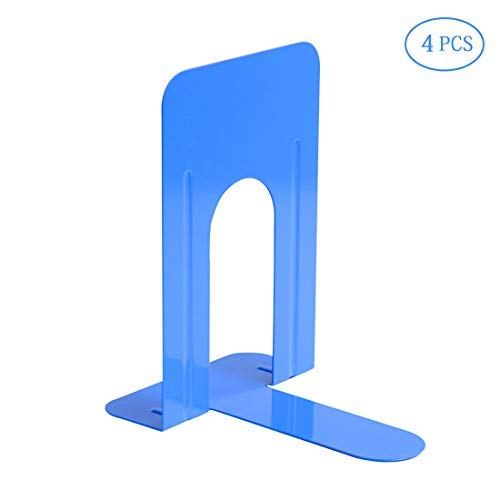 Bookends Book Ends Universal Economy Bookends Nonskid Heavy Duty Metal Bookend Supports for Books Notebooks Files Magazines 2 Pairs(Blue)